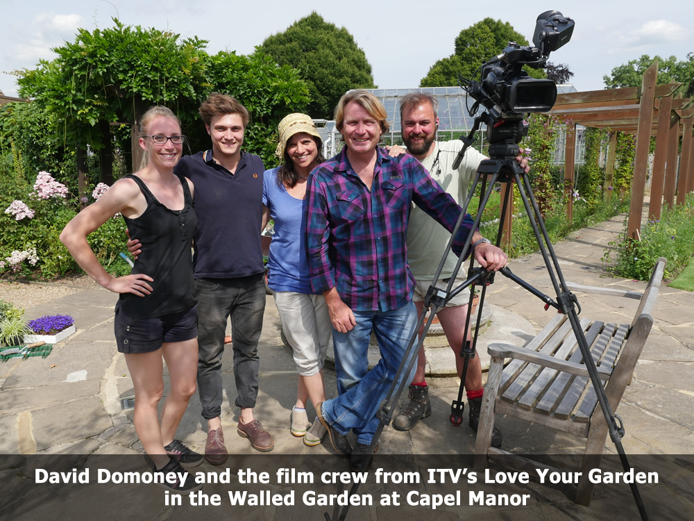 David Domoney and the ITV film Crew at Capel Manor Gardens.jpg