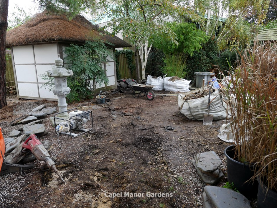 14 October 2014 -  The second phase or rejuvenation works by by Rhino Rock get underway in the Japanese Garden