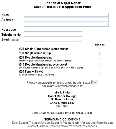 Capel Manor Season Ticket Application Form