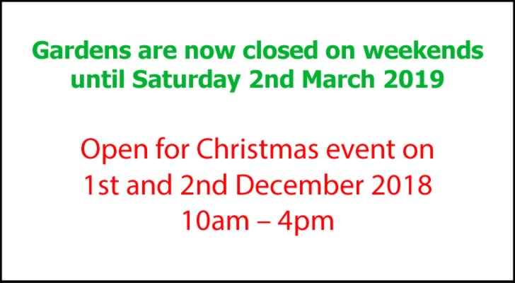 Gardens closed at the weekends