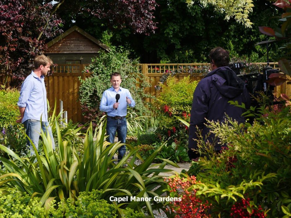 Senior Gardener Tom Wheatcroft on BBC Breakfast TV with weather presenter Matt Taylor